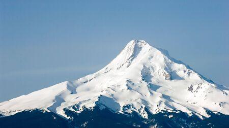 hard work ahead: Mt. Hood in Oregon Stock Photo