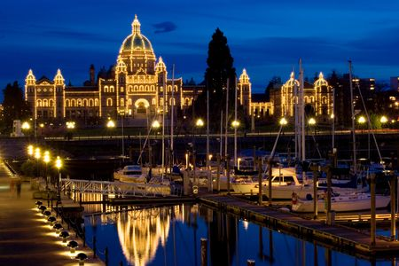 puget sound: Victoria, BC, Parliament building at night