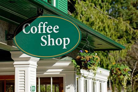 cafe shop: Coffe shop in small tourist town