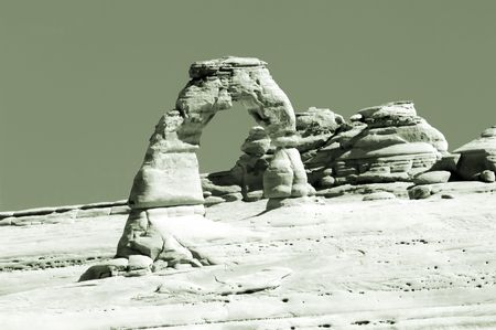 Delicate Arch in sepia, Arches national park, Utah, USA photo