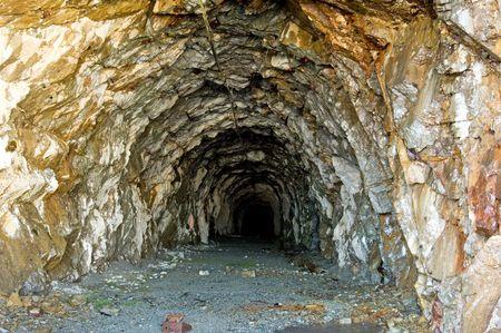 サーモンの氷河、Hyder, アラスカ州周辺の古い金鉱山トンネル