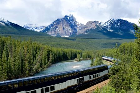 Train in Canadian Rockies
