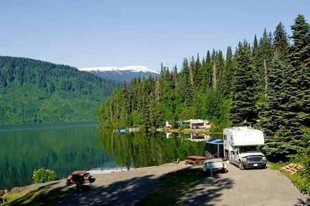 recreational vehicle: RV park at the lake near Alaskan highway