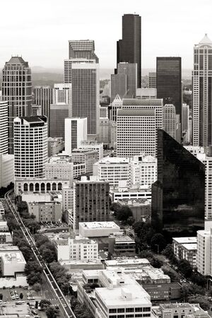disctrict: Aerial view of downtown Seattle Stock Photo