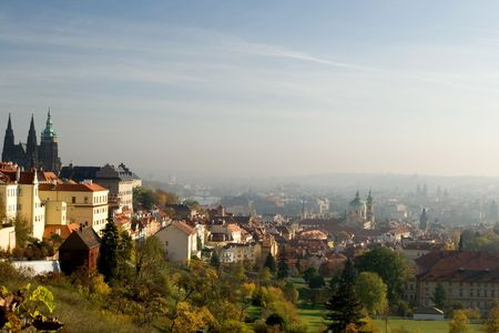 vitus: View of golden Prague with St. Vitus cathedral Stock Photo