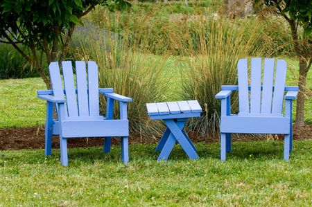 two chairs: Two chairs in lavender garden Stock Photo