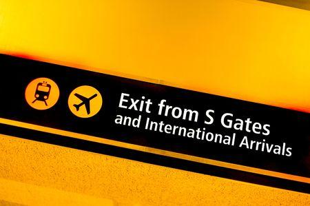 arrivals: International arrivals sign
