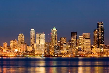 View of nighttime Seattle across Puget Sound Stock Photo - 537884