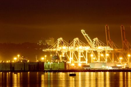 Seattle port at nighttime, Washington state photo