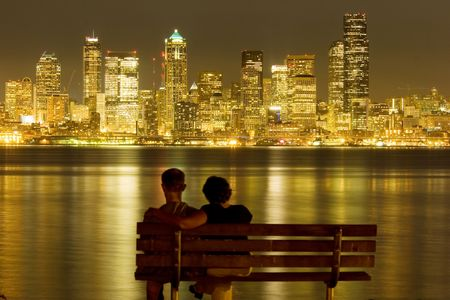 across: View of nighttime Seattle across Puget Sound Stock Photo
