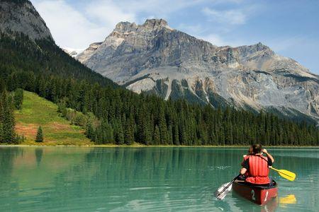 canoeing: Emerald lake, Yoho National park, Canada