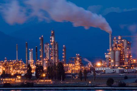 Anacortes, WA oil refinery at night Stock Photo