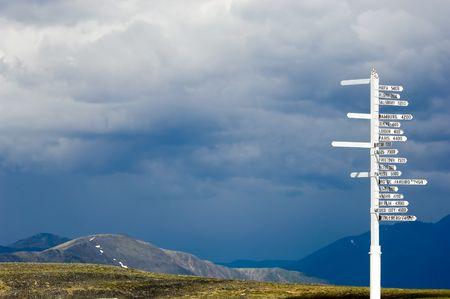 World cities signpost, Keno, Yukon