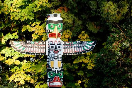 the totem pole: Totem poles in Stanley park, Vancouver, Canada Stock Photo
