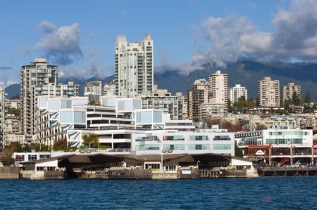 lonsdale: View of North Vancouver and mountains from seabus in bright day Stock Photo