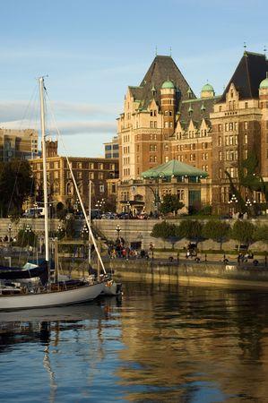 Beautiful hotel and harbor at sunset, Victoria, British Columbia photo