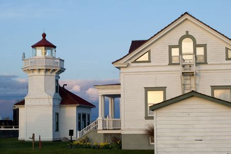 Historic lighthouse by the ferry terminal in Mukilteo, Washington state Stock Photo - 647610