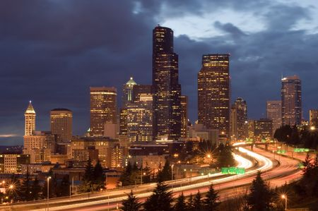 highrises: Seattle with weekend traffic