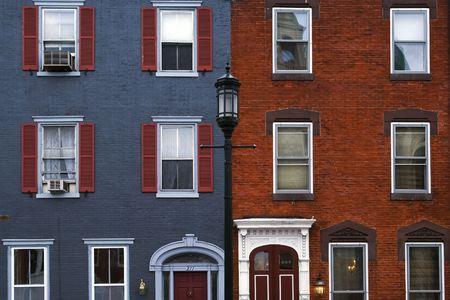 brownstone: Colored historical houses in Philadelphia, Pennsylvania