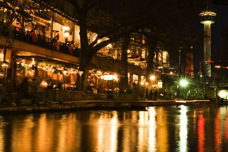 Nighttime cafes and restaurants on San Antonio riverwalk, Texas