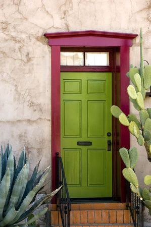 tucson: Southwestern style adobe door in historical part of Tuscon, Arizona Stock Photo