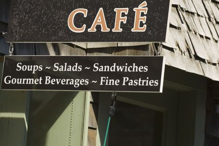 massachussets: Seaside cafe in New Englands town of Rockport, MA Stock Photo