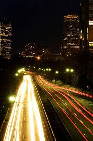 massachussets: Storrow drive traffic lights in Back Bay, Boston, MA