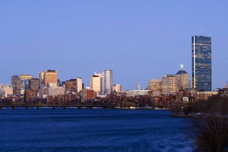 Boston skyline in dusk from Charles river photo