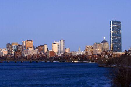 massachussets: Boston skyline in dusk from Charles river