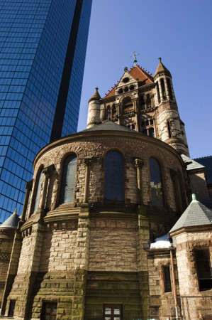 massachussets: Trinity church and Hancock tower as two famous Boston landmarks in Back Bay Stock Photo