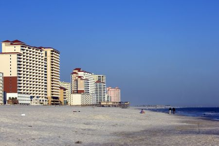shores: Newly constructed condos and hotels in post-hurricane Gulf Shores on the Gulf of Mexico Stock Photo