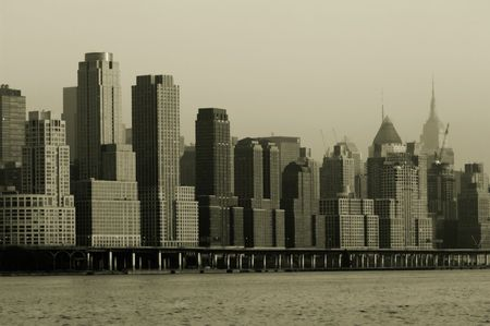 nyc skyline: Retro 1930s look of midtown Manhattan skyline