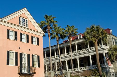 row house: Rainbow Row houses in historical part of Charleston