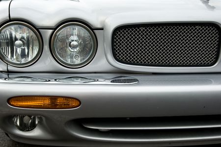 Front detail of silver luxury car photo
