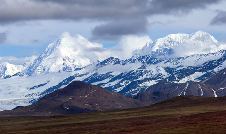 denali: Strom gathering above Denali mountain range