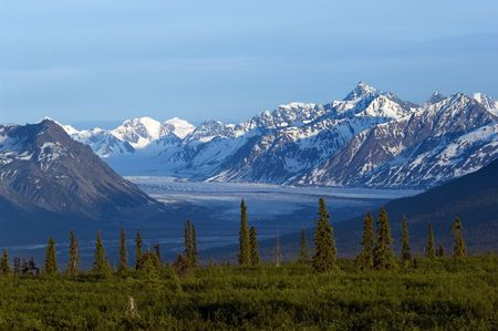 alaska scenic: Glacier valley and mountain range in afternoon in Alaska