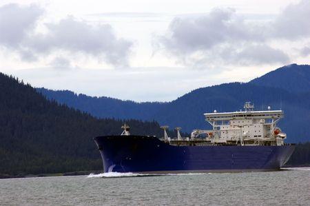 Oil tanker going to refinery near Valdez, Alaska Stock Photo