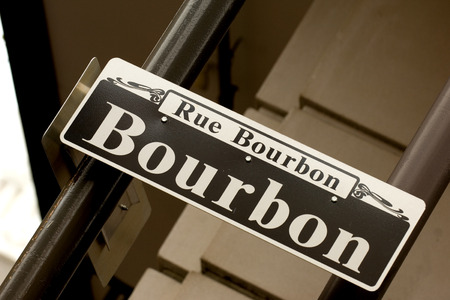 parade: Rue Bourbon street in New Orleans in French Quarter