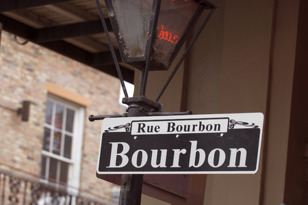 rue: Rue Bourbon street in New Orleans in French Quarter