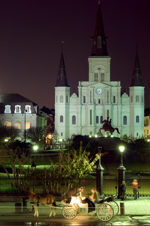 parades: Famous landmark on Jackson square at night, New Orleans