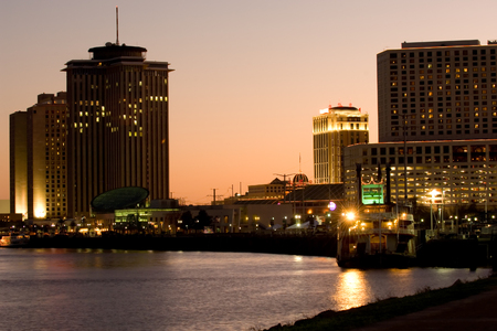 louisiana: Hotels and casinos on Mississippi river at sunset