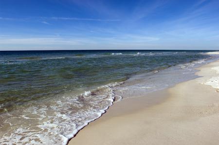 seacoast: Remote barren white sand beach of Mexican Gulf coast