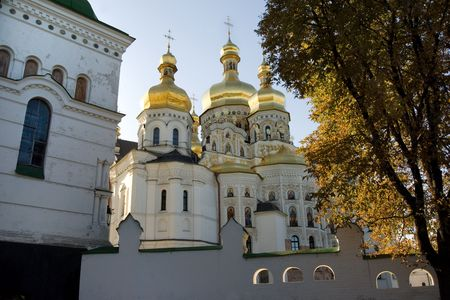 Uspensky Cathedral in Kiev-Pechersk lavra in autumn colors, Kiev, Ukraine photo