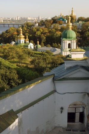 Kiev-Pechersk Lavra, the famous ancient Orthodox monastery in Kiev, and Dnieper river photo