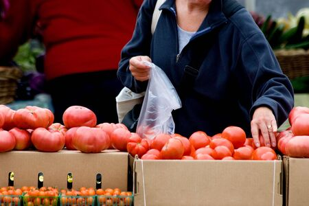 shopping list: Woman shopping for fresh produce at local farmers market Stock Photo