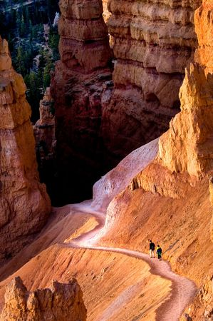 trecking: Two hikers on the trail in Bryce Canyon national park, Utah