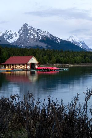 boathouse: Boathouse on Maligne lake, Jasper national park