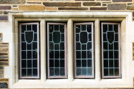 college dorm: Windows of old university campus building, Princeton, New Jersey
