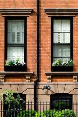 Typisch brownstone in de buurt van Brooklyn Heights, NYC