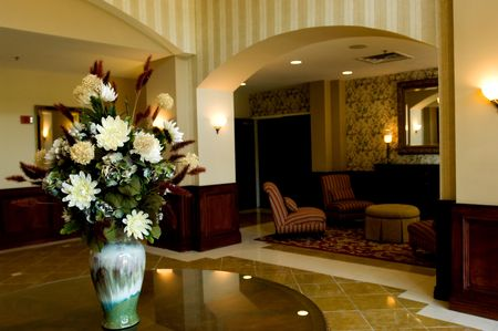 Lobby of upscale hotel in downtown